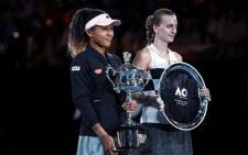 World number one Naomi Osaka and Czech Petra Kvitova hold their trophies following their Australian Open final match. Picture: @AustralianOpen/Twitter.