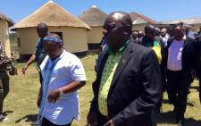 ANC president Cyril Ramaphosa meets acting AbaThembu King Azenathi Zanelizwe Dalindyebo at the Bumbane Great Place in the Eastern Cape. Picture: @MYANC/Twitter.