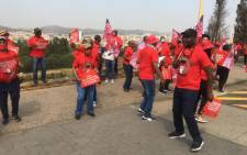 Nehawu members picket outside the Union Buildings in Pretoria on 21 September 2020. Picture: Abigail Javier/EWN