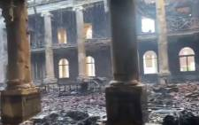 Inside UCT's Jagger Reading Room that was gutted by a fire on 18 April 2021. Picture: Shamiela Fisher/Eyewitness News.