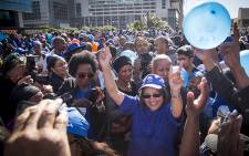 Mayor Patricia de Lille dances among DA supporters at a rally to celebrate election results in Cape Town on 5 August 2016. Picture: Aletta Harrison/EWN