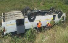 At least 61 children were hurt after their bus veered off the R603 near Umbumbulu. Picture: ER24 EMS via Twitter.