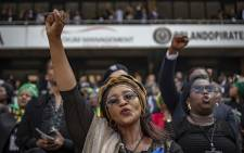 Despite it being a funeral, most of the crowd was jubilant, celebrating Winnie Madikizela-Mandela's life with cheers, song, dance and salute. Picture: Thomas Holder/EWN.