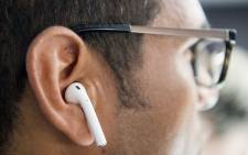 Apple wireless AirPods are tested during a media event in San Francisco, California on 7 September 2016. Picture: AFP