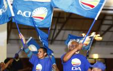 Democratic Alliance supporters chanting in Cape Town. Picture: Amanda Moore/EWN.