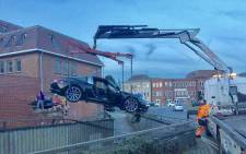 A 73-year-old London man crashed his Porsche through a wall on Thursday 5 April 2018. Picture: Twitter/@SgtColinShead