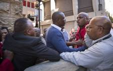 EFF deputy leader Floyd Shivambu in a confrontation with Parliamentary security staff after the party's MPs exited Parliament on 4 May 2016. Picture: Aletta Harrison/EWN