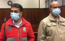 Controversial Durban businessman Thoshan Panday (L) and Colonel Navin Madhoe (R) appearing in the Durban Magistrates Court on 2 October 2020 on various charges including fraud and corruption. Picture: Nkosikhona Duma/EWN
