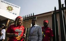 Members of the EFF leave Bramley police station after laying a criminal complaint against Adam Catzavelos. Picture: Kayleen Morgan/EWN