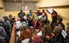 Fifty-three military veterans accused of holding ministers Thandi Modise, Mondli Gungubele and deputy minister Thabang Makwetla against their will appeared in court on Tuesday for bail applications. Picture: Pool/Jacques Nelles