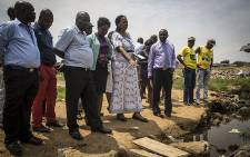 FILE: Gauteng Social Development MEC Nandi Mayathula-Khoza visited the stream where 6-year-old Angel Sibanda's body was found after being swept by a current during flash floods last week. Picture: Reinart Toerien/EWN.