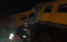Train derailed and crashed into a stationary train between the crown and Booysens stations. Picture: Govan Whittles/EWN.