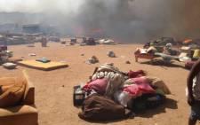 Fire has raged through the Kya Sands informal settlement. Picture: Reinart Toerien/EWN.