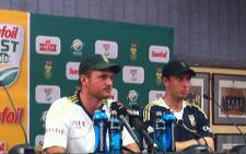 Proteas captain Graeme Smith and paceman Kyle Abbott. Picture: Lelo Mzaca/EWN