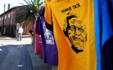 A T-shirt of Nelson Mandela on sale outside the Regina Mundi Roman Catholic church in Soweto, Wednesday, 26 June 2013. Picture: Werner Beukes/SAPA