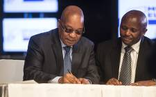 President Jacob Zuma signs the IEC code of conduct ahead of the 2016 local government elections during a ceremony in Midrand on 16 May 2016. Picture: Reinart Toerien/EWN.