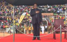 President Jacob Zuma during the singing of the national anthem, he will be delivering a keynote address at the Giyani Stadium to mark Freedom Day. Picture: Vumani Mkhize/EWN.