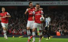 Arsenal's Laurent Koscielny celebrates his goal against Newcastle United in the English Premier League match on 28 April 2014. Picture: Facebook.