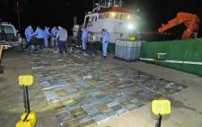 Police in the Western Cape seized cocaine valued at over R500 million from a fishing vessel on the Saldanha Bay coast on 1 March 2021. Picture: Twitter/@SAPoliceService