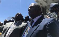Cape Town Mayor Dan Plato (R) and ANC provincial leader Xolani Sotashe addressing protesters outside Civic Centre on 31 January. Picture: Lauren Isaacs/EWN.