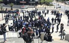 FILE: MyCiTi workers demonstrate outside the Cape Town Civic Centre on 16 October 2018. Picture: Monique Mortlock/EWN