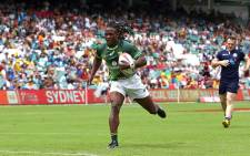 Seabelo Senatla of South Africa runs in a try. Picture: AFP
