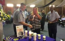 Relatives and colleagues pay tribute to Constable Christopher Mouton. Picture: Lauren Isaacs/EWN