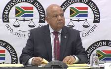 Minister Pravin Gordhan gives his testimony on 20 November 2018 at the commission of inquiry into state capture. Picture: Abigail Javier/EWN