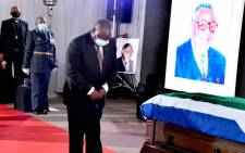 President Cyril Ramaphosa at teh funeral of struggle stalwart John Nkadimeng on Friday, 14 August 2020. Ramaphosa delivered the eulogy at the special official funeral which was held in Johannesburg. Picture: GCIS/Twitter