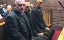 file: (From left) Andries Janse van Rensburg, Ivan Pillay and Johan van Loggerenberg in the Pretoria magistrates court on 9 April 2018. Picture: Barry Bateman/EWN