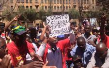 Truck drivers demonstrate in Beyers Naude Square, demanding better salaries. Picture: Govan Whittles/EWN.