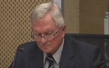 A screengrab of Judge Frank Kroon testifying at the Nugent Commission of Inquiry in Pretoria on 28 September 2018.