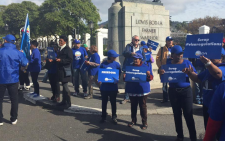 DA activists had gathered outside Parliament to protest in-coming Home Affairs regulations. Picture: Xolani Koyana/EWN