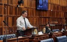 Western Cape Finance and Economic Opportunities MEC David Maynier presents the province's budget in the Western Cape Legislature on 16 March 2020. Picture: @WesternCapeGov/Twitter