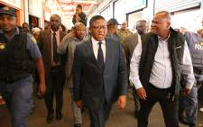 Police Minister Fikile Mbalula does a walkabout of the Nyanga Junction Mall following a failed robbery at the centre. Picture: Bertram Malgas/EWN