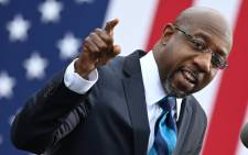 A file photo taken on 15 December 2020 of Democratic Senate candidate Reverend Raphael Warnock during a campaign rally in Atlanta, Georgia. Picture: Jim Watson / AFP