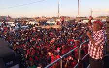 EFF leader Julius Malema addressing the ‎Diepsloot‬ community ahead of the party's manifesto launch. Picture: Economic Freedom Fighters Facebook page.