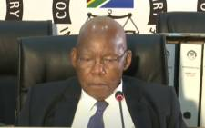 A screengrab of former Cabinet minister and former Free State housing MEC Mosebenzi Zwane Eskom board chairperson Ben Ngubane appearing at the state capture inquiry in Johannesburg on 13 October 2020. Picture: SABC/YouTube