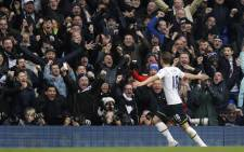 Tottenham Hotspur's English striker Harry Kane (R) celebrates with the crowd after scoring an equalising goal to make the score 1-1 during the English Premier League football match between Tottenham Hotspur and Arsenal at White Hart Lane in London, on 7 February, 2015. Picture: AFP