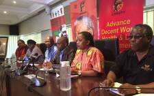 Caption: Cosatu President Sdumo Dlamini and members of the federation's leadership at a press conference at Cosatu House. Picture: Vumani Mkhize/EWN.