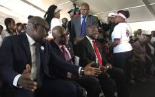 David Makhura (L), Aaron Motsoaledi (C) and Cyril Ramaphosa (R) pictured at a young women's dialogue for World Aids Day 2016. Picture: @GautengProvince