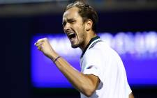 Daniil Medvedev celebrates a point against Hubert Hurkacz during a quarterfinal match on Day Five of the National Bank Open at Aviva Centre on 13 August 2021. AFP