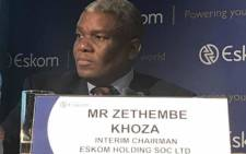FILE: Zethembe Khoza, the interim board chairperson of the Eskom board briefs media on 19 July 2017. Picture: Kgothatso Mogale/EWN