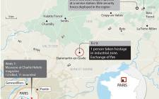 A map of northeast Paris where the suspects in Wednesday's Charlie Hebdo shooting are cornered with a hostage.  Picture: AFP