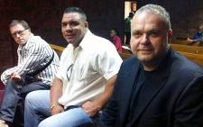 FILE: Radovan Krejcir (R) appear Veselin Laganin and Jason Dominguez in the dock at the Pretoria Magistrates Court on 9 October 2012. Picture: Mandy Wiener/EWN