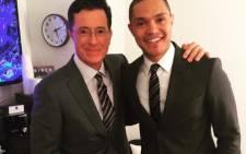 Comedians Trevor Noah and Stephen Colbert. Picture: Instagram