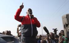 Expelled ANCYL leader Julius Malema in Marikana in the North West. Picture: Taurai Maduna/EWN.