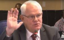 A screengrab of former KwaZulu-Natal Hawks boss Johan Booysen at the Mokgoro Inquiry on 4 February 2019.