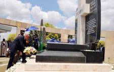 President Jacob Zuma during the wreath laying ceremony for Oliver Tambo at the Tamboville cemetery. Picture: ANC Info Feed ‏@MyANC_