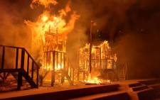 Beach huts at St James beach went up in flames in the early hours of August 8 2020. Picture: City of Cape Town.